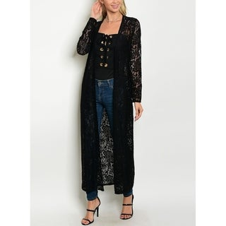 JED Women's Long Sleeve Lace Maxi Cardigan