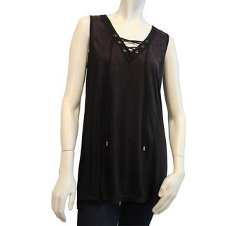 August Silk Faux Suede Sleeveless top with Grommet V- neck and Knit Back