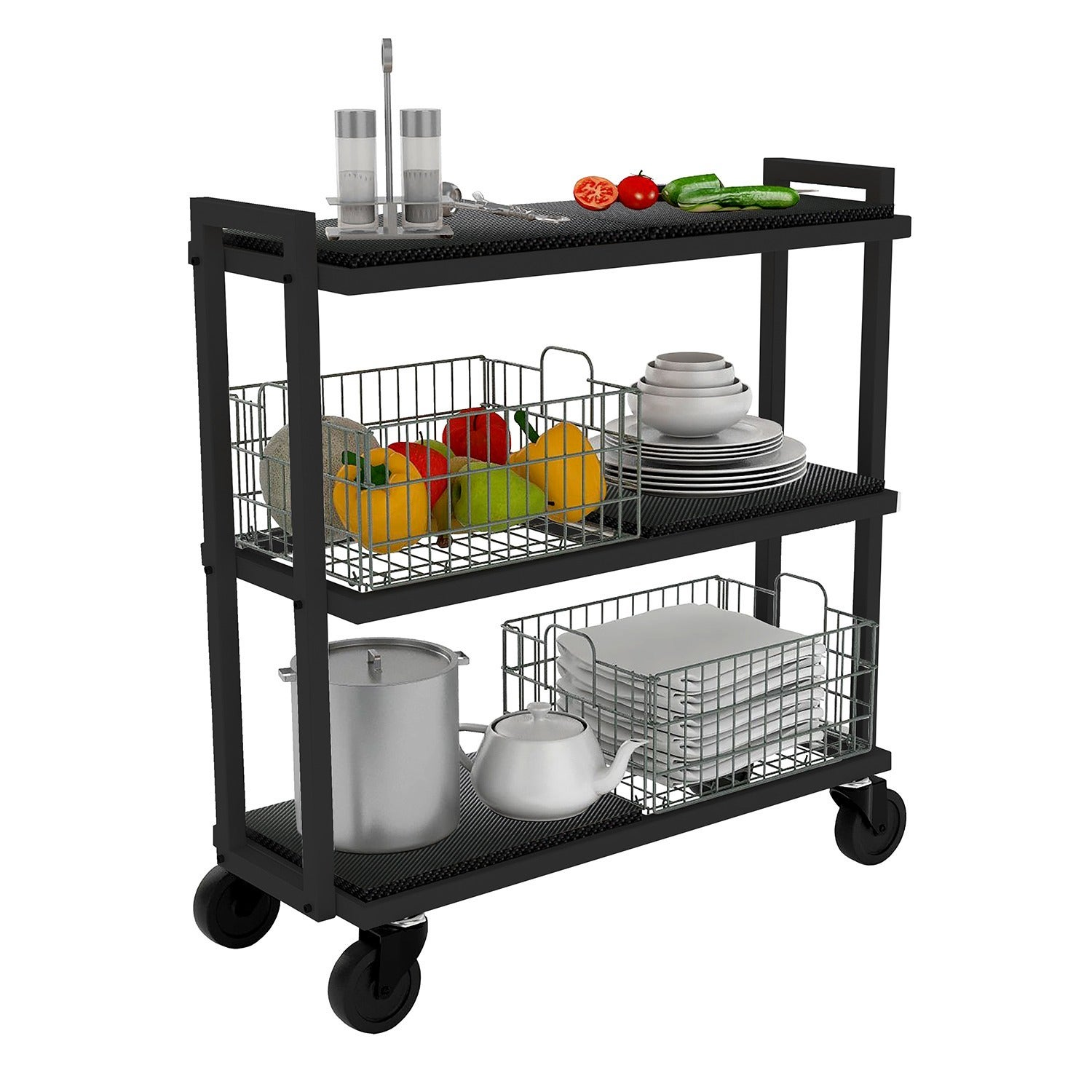 Shop Simple Living Rolling Galvin Microwave Cart: Shop Urb SPACE 3-tier Black Tubular Steel Cart System With