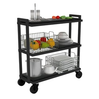 urb SPACE 3-tier Black Tubular Steel Cart System with 4 Interchangeable Shelves, and 2 Black Baskets