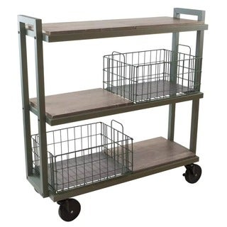 urb SPACE 3-tier Tubular Steel Cart System with 4 Interchangeable Shelves, and 2 Green Baskets