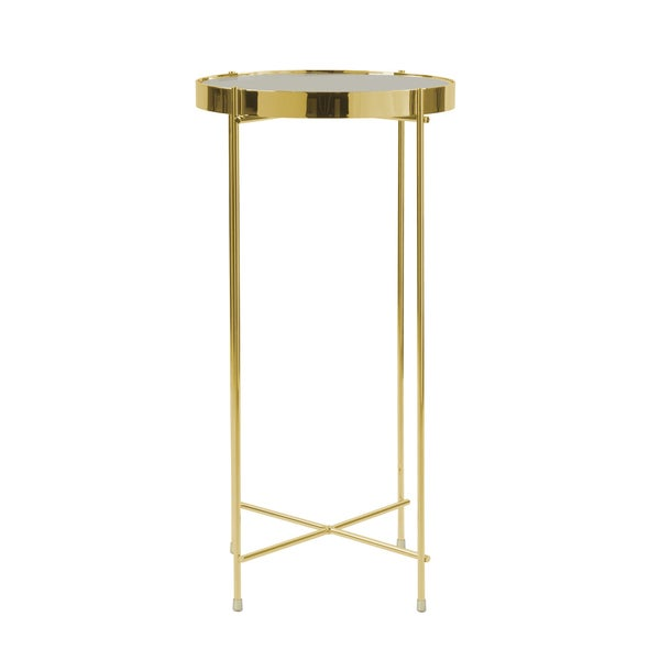 Gentil Urb SPACE Ritz Gold Tone Metal/ Glass Tall Side Table