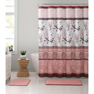 Ruthy's Textile Multi Floral and Branches Design 72-inch Shower Bath Curtain