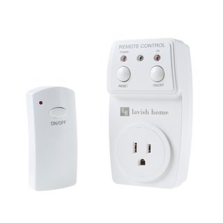 Indoor Wireless Electrical Outlet Plug With Programmable Remote Control For Home Appliances by Lavish Home