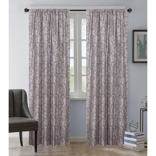 Riley Puple Flocked Print 84-inch Curtain Panel