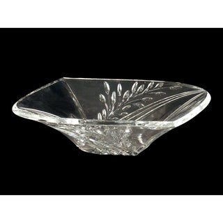 "Springdale 13.25""W Clear Leaf 24 percent Lead Crystal Bowl"