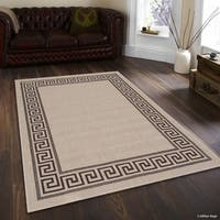 Allstar Beige/ Brown Indoor Outdoor Solid Greek Key Motif Design Rug (5' X 7')