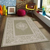 Allstar Sage Green/ Ivory Indoor Outdoor With Floral Design Rug (5' X 7')
