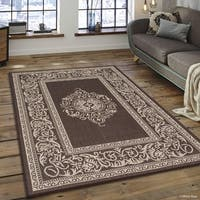 Allstar Chocolate/ Ivory Indoor Outdoor With Floral Design Rug (5' X 7')