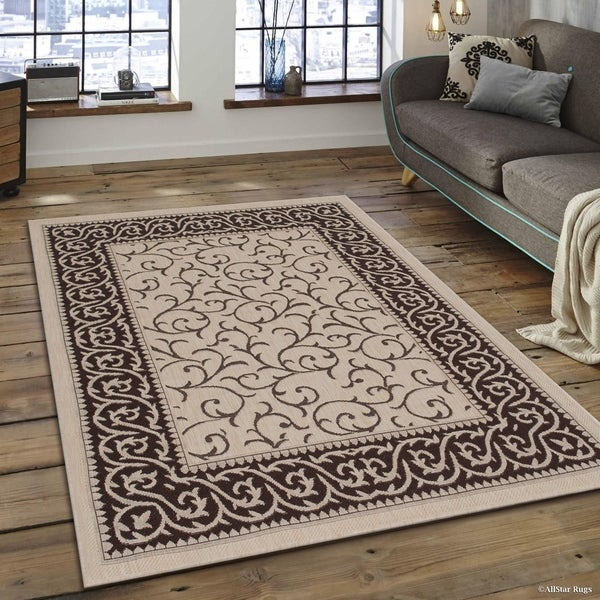 Shop Allstar Beige Brown Indoor Outdoor Floral Scroll