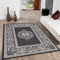 Allstar Black/ Ivory Indoor Outdoor Traditional Floral Design Rug - 5' X 7'