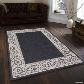 Allstar Black/ Ivory Indoor Outdoor Traditional Paisley Floral Rug (5' X 7')