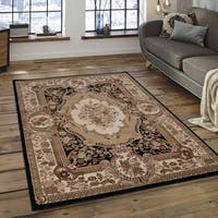 "Allstar Black/ Beige Dense Thickness Weight Woven Persian Rug - 5' 3"" X 7' 5"""