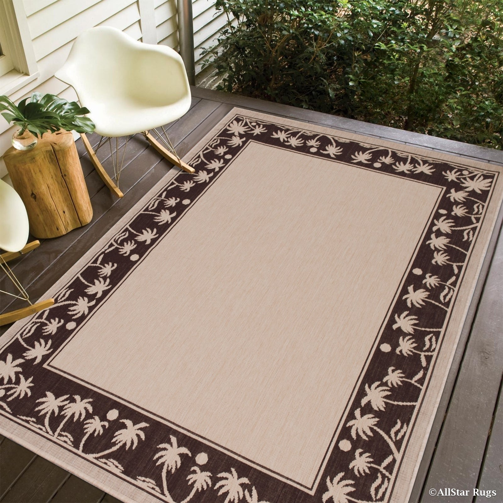 Allstar Beige/ Ivory Indoor Outdoor With Palm Tree Patter...