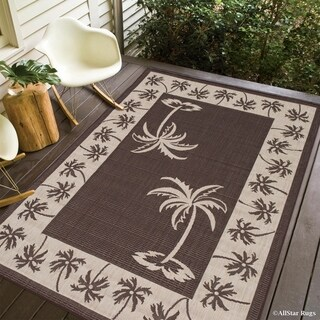 Allstar Chocolate/ Ivory Indoor Outdoor With Palm Tree Patterns Rug (5' X 7')