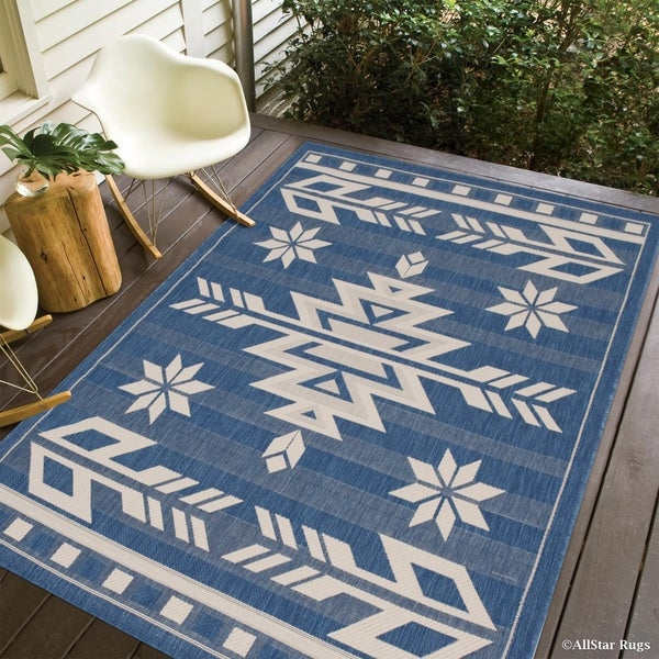 Allstar Navy Blue Ivory Indoor Outdoor With Arrow Pattern Rug 5 X