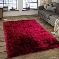 "Allstar Burgundy Chic Thick Soft And Shaggy Solid Rug (4' 11"" X 7')"