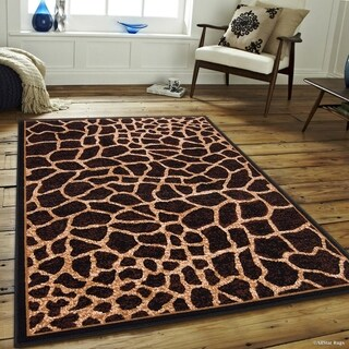 "Allstar Brown/ Beige Woven Jungle Vibe Giraffe Skin Printed Rug (5' 2"" X 7' 1"")"