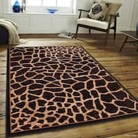 "Allstar Brown/ Beige Woven Jungle Vibe Giraffe Skin Printed Rug (5' 2"" X 7' 1"")"