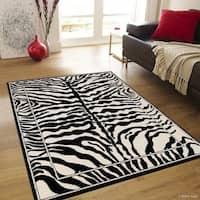 Allstar Black/ White And Woven Safari Vibe Skin Printed Rug