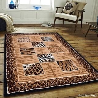 "Allstar Berber/ Brown Woven Jungle Vibe Cheetah Printed Rug (5' 2"" X 7' 1"")"