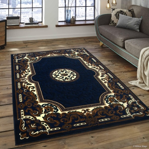 Allstar Navy Blue Brown Woven Traditional Printed Rug