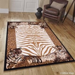 "Allstar Berber/ Brown Woven Jungle Vibe Tiger Skin Printed Rug (5' 2"" X 7' 1"")"
