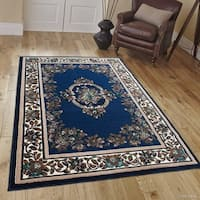 "Allstar Navy Blue/ Brown Woven Floral Printed Rug - 5' 2"" X 7' 2"""