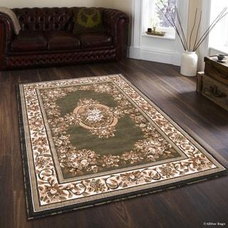 "Allstar Sage Green/ Berber Woven Floral Printed Rug (5' 2"" X 7' 2"")"