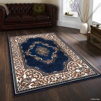 "Allstar Navy Blue/ Berber Woven Floral Traditional Printed Rug (5' 2"" X 7' 2"")"