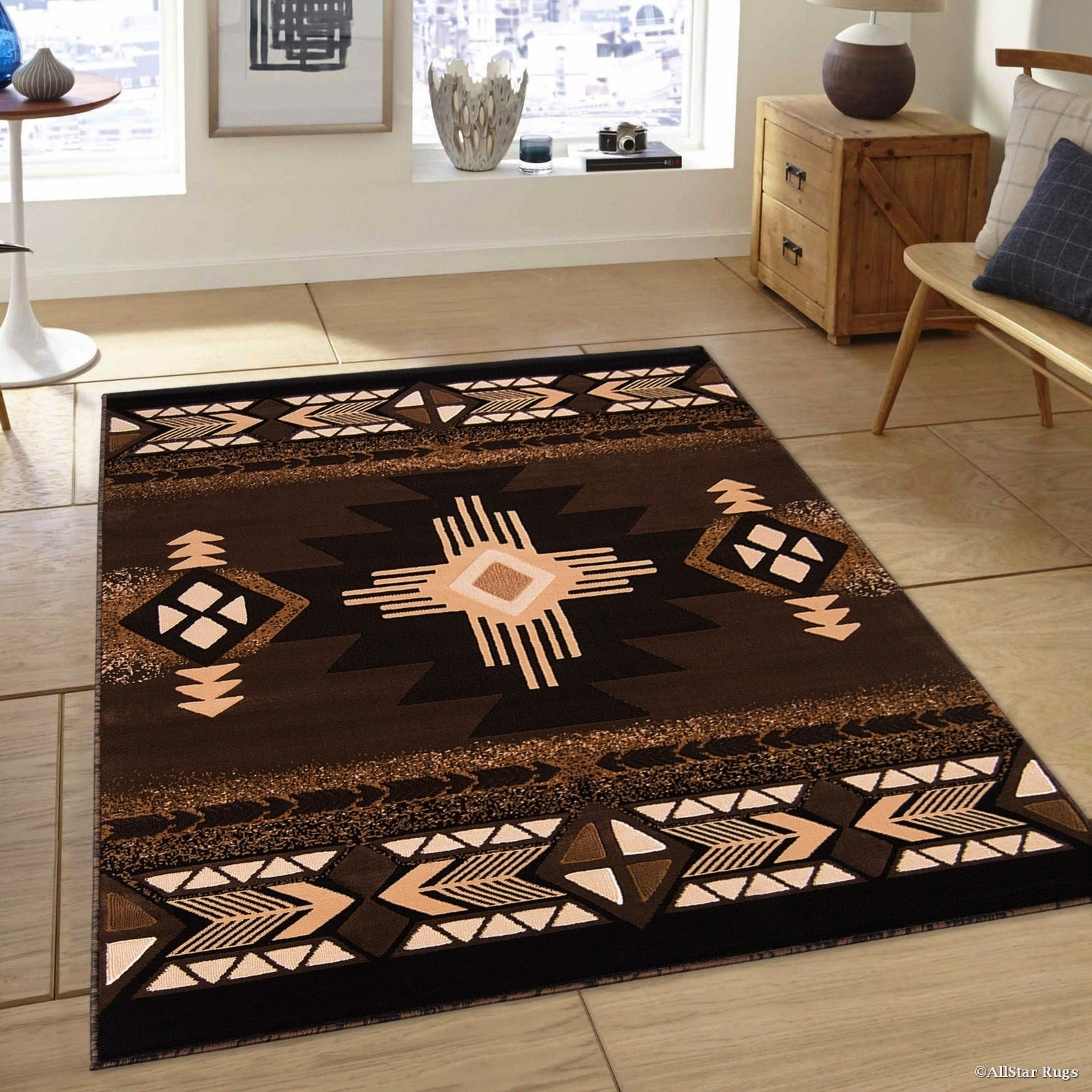 "Allstar Chocolate/ Brown Woven Native American Rug (5' 2""..."