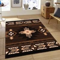 "Allstar Chocolate/ Brown Woven Native American Rug (5' 2"" X 7' 2"")"