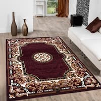 "Allstar Burgundy/ Brown Woven Traditional Aubusson Printed Rug - 5' 2"" X 7' 2"""
