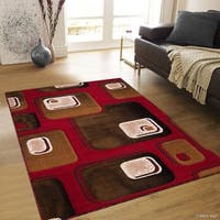 "Allstar Red/ Brown Woven Geometric Pattern Rug (5' 2"" X 7' 2"")"