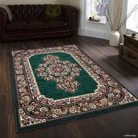 Allstar Green/ Burgundy Woven Floral Printed Rug
