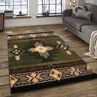 "Allstar Sage Green/ Ivory Woven Native American Rug (5' 2"" X 7' 2"")"