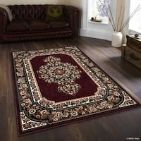 Allstar Burgundy/ Green Woven Floral Printed Rug