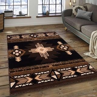 "Allstar Black/ Brown Woven Native American Rug (5' 2"" X 7' 2"")"