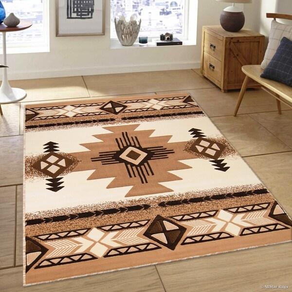 Shop Allstar Ivory/ Berber Woven Native American Rug