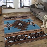 "Allstar Blue/ Brown Woven Native American Rug - 5' 2"" X 7' 2"""