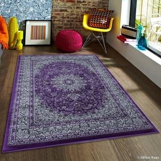 "Allstar Purple/ Grey Dense High Pile Persian Rug (5' 3"" X 7' 5"")"