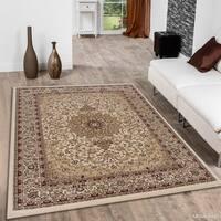 "Allstar Ivory/ Brown Dense High Pile Persian Rug (5' 3"" X 7' 5"")"