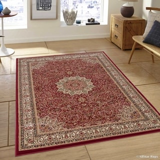 """Allstar Red/ Beige Ultra-Dense Thick Woven Persian Pattern Rug (5' 3"""" X 7' 5"""")"""