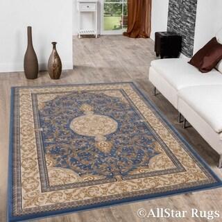 "Allstar Sage Blue/ Ivory Dense High Pile Floral Printed Rug (5' 3"" X 7' 5"")"