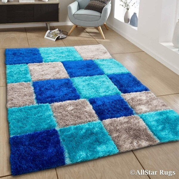 Allstar Blue Aqua Geometric Cube Thick High Pile Rug