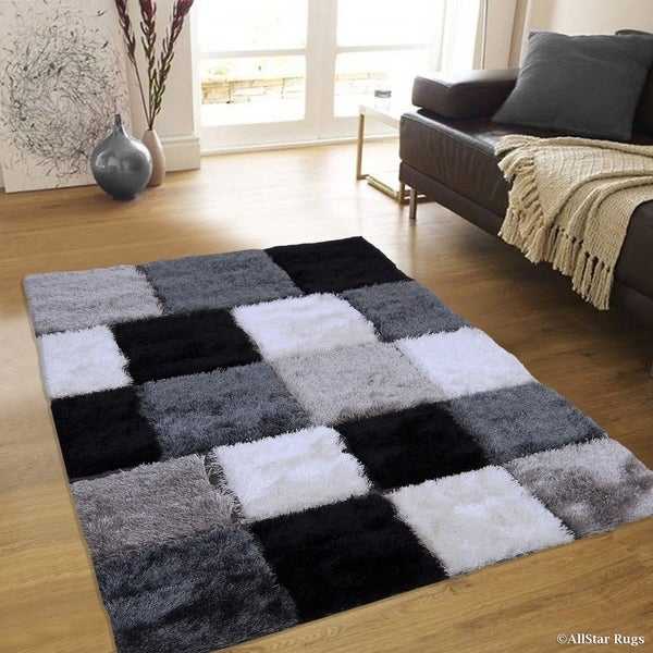 Allstar Black White Geometric Cube Thick High Pile Rug