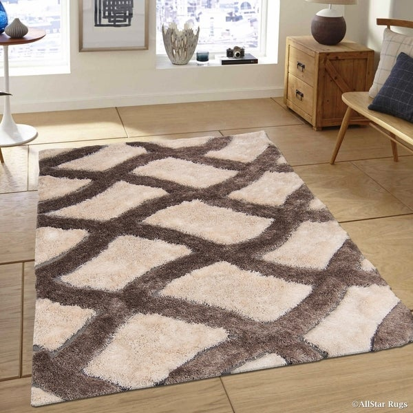 Allstar White Brown Trellis Design Thick High Pile Rug
