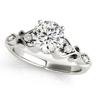 14k White Gold Diamond Heart Shank Engagement Ring (0.76ct) - White G-H