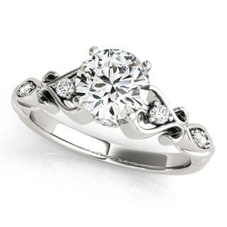 14k White Gold Diamond Heart Shank Engagement Ring (0.76ct) - White G-H