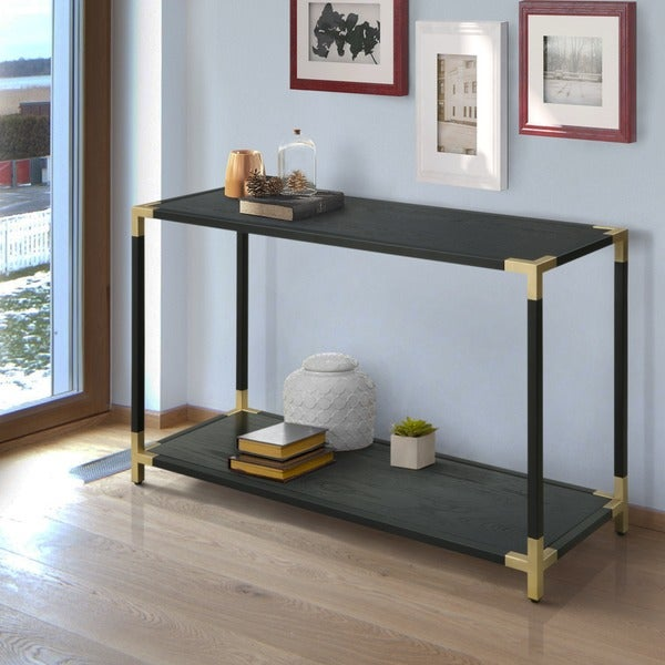 Clera Contemporary Black Open Shelf Sofa Table By Foa On Free Shipping Today 16906742